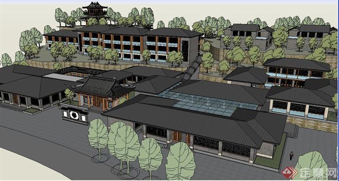 新中式山地度假酒店建筑su精细设计模型[原创]