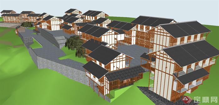 滇南风格吊脚楼商业街su精细设计模型(2)