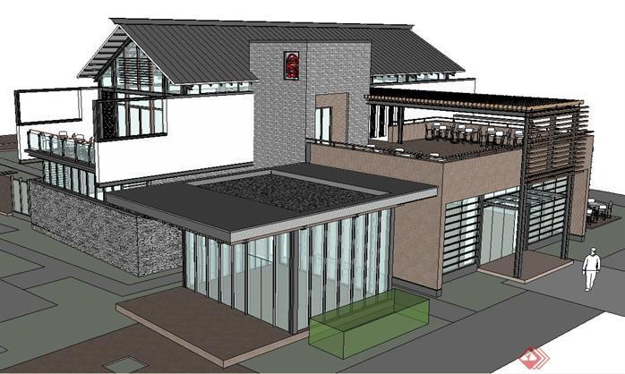 新中式餐饮会馆建筑方案su精细设计模型[原创]