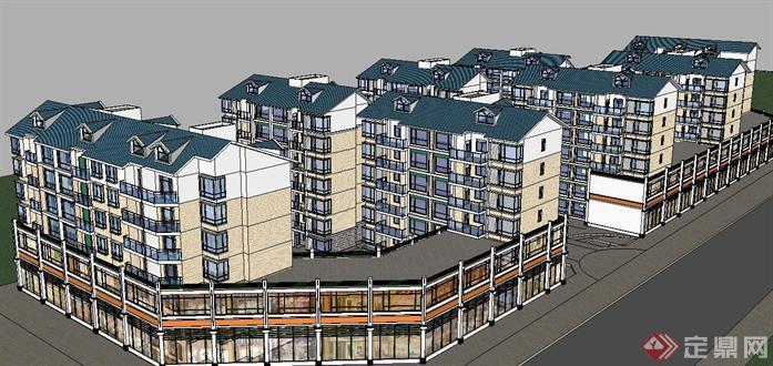 安置房项目建筑方案su精细设计模型(2)