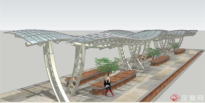 弧形欧式休闲廊架SU精细设计模型,该廊架方案设计很具有创意,模型制作非常详细,可以在同类项目中做参考或适当修改后使用。