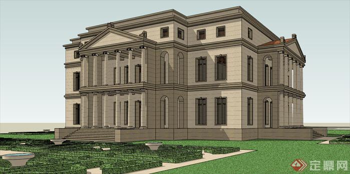 欧式市政厅办公建筑设计方案sketchup模型2