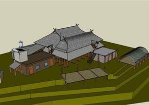 傣族民居建筑设计方案su模型图片