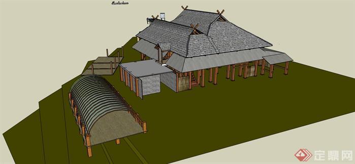 傣族民居建筑设计方案su模型[原创]