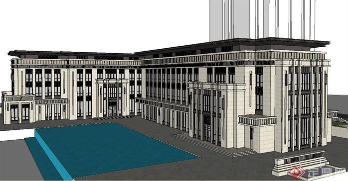 第一会所有码原创_新古典风格 办公 会所 建筑 方案su精细设计模型[原创