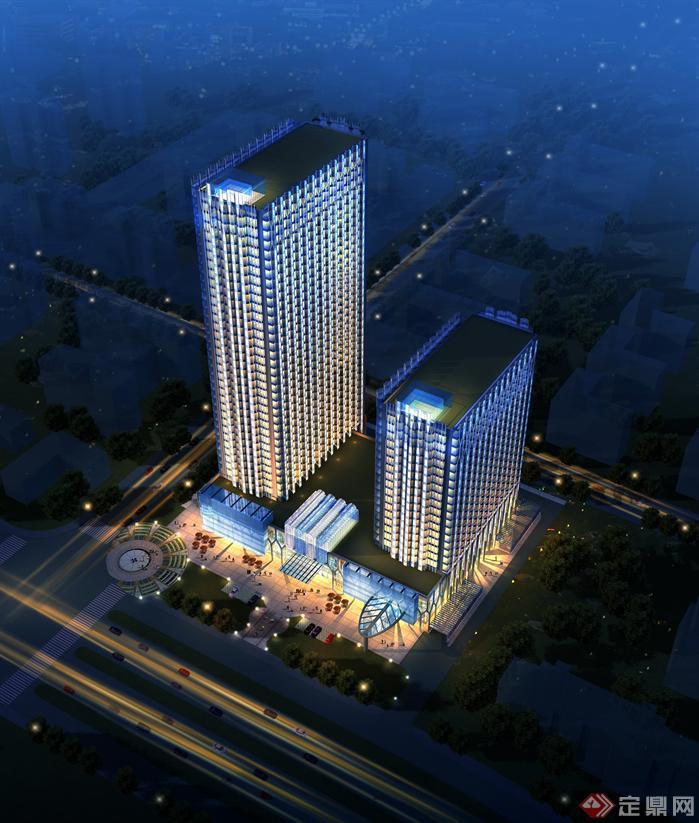 五星级酒店建筑设计sketchup模型与高清效果图[原创]