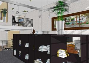小型办公室loft空间su模型设计