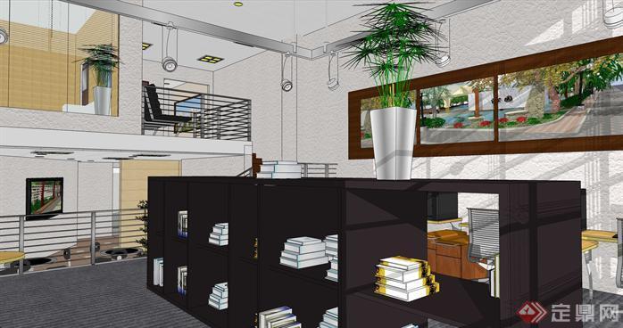 小型办公室loft空间su模型设计(1)