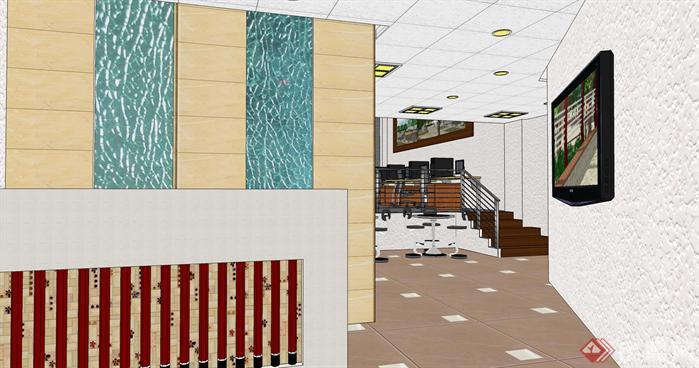 小型办公室loft空间su模型设计(2)