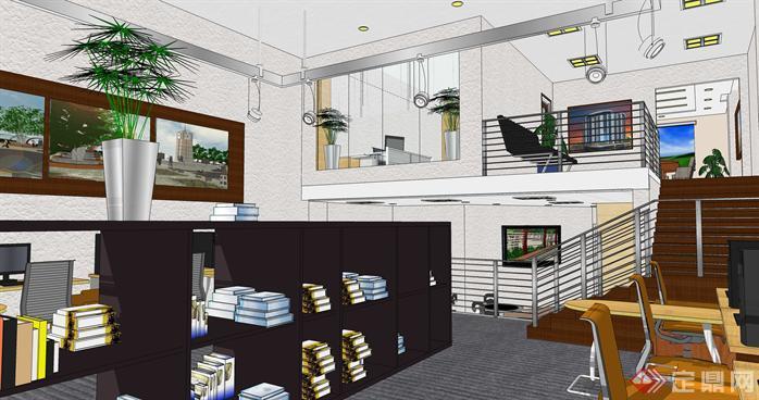 小型办公室loft空间su模型设计(3)