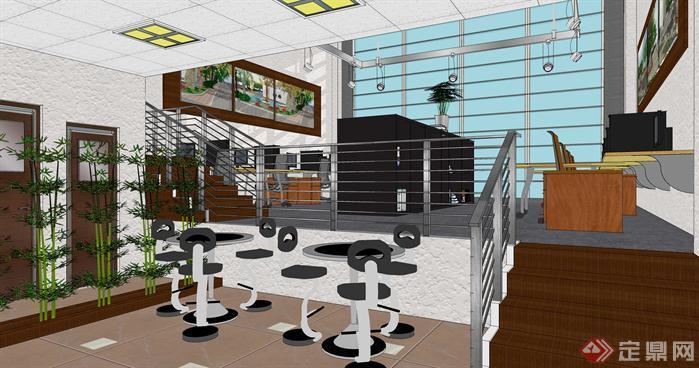 小型办公室loft空间su模型设计(4)