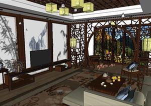 一个新中式客厅家装方案SU(草图大师)精致设计模型