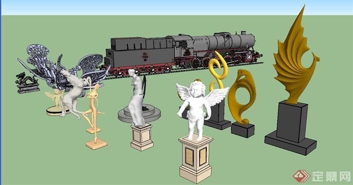 各式雕塑组件集SU精致设计模型(2)