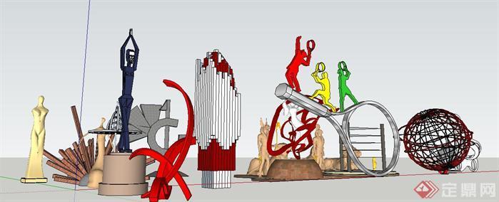 各式雕塑组件集一SU精致设计模型(2)