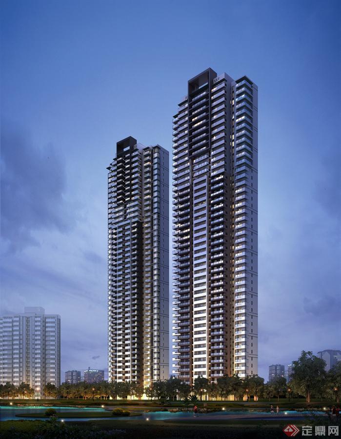 现代风格超高层住宅sketchup模型与效果图 4