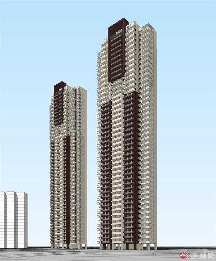 现代风格超高层住宅SU模型与高清效果图