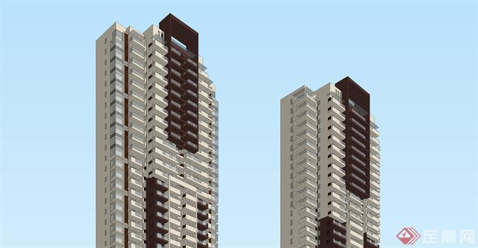 現代風格超高層住宅su模型與高清效果圖[原創