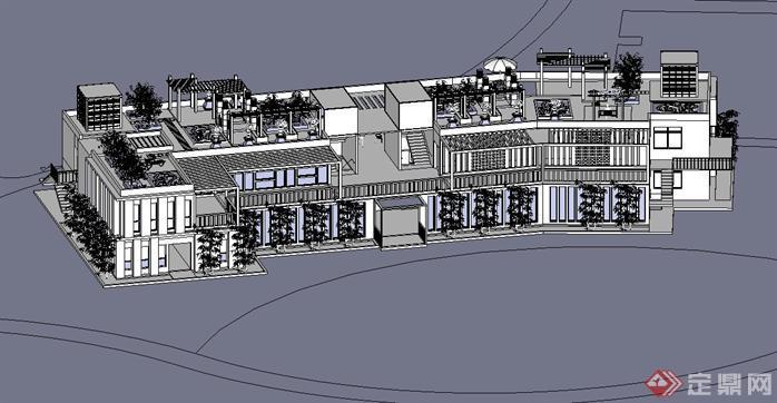 新中式风格办公建筑su模型设计