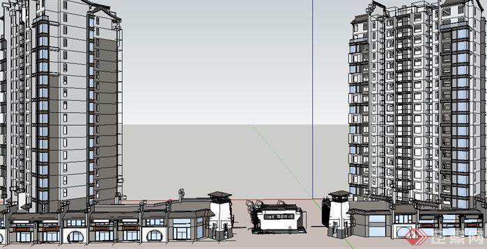 一个中式的高层住宅及入口模型,中式现代风格,非常的美观,模