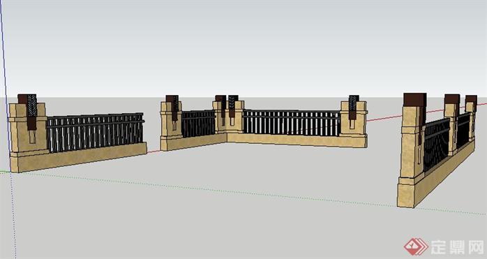 欧式栏杆景观设计su模型