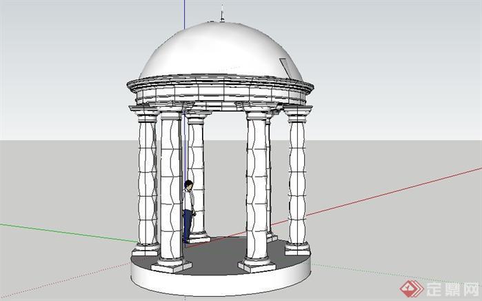 全套欧式栏杆 柱子 亭子su构件模型1