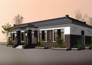 中式一层小别墅建筑设计SU模型