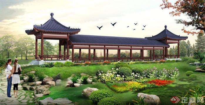 某公园廊亭景观设计效果图,刚学的ps制作的效果图,仅供参考.