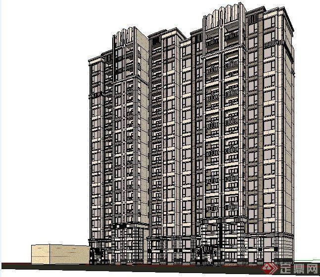 高层住宅建筑设计精品su模型(1)