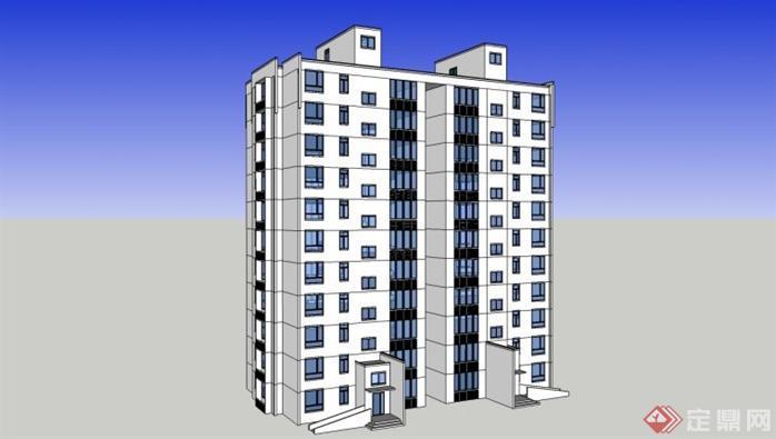 徽派中式高层住宅建筑设计方案su模型1