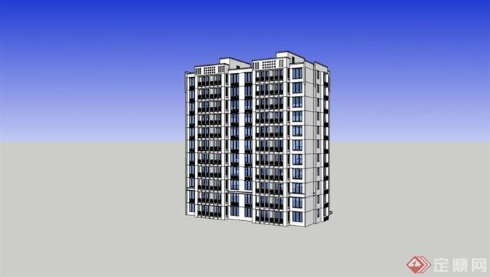 徽派中式高层住宅建筑设计方案su模型2图片