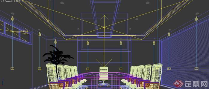 某办公室装修设计3d模型,该室内空间设计方案创意优秀,室内