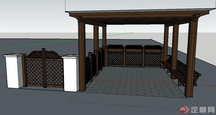 某小庭院入口停车位廊架su模型,该景观廊架方案设计很具有创意,模型