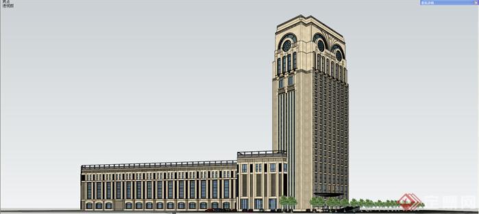富源欧式风格酒店建筑设计方案su模型[原创]