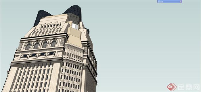某古典风酒店建筑设计su精致模型[原创]