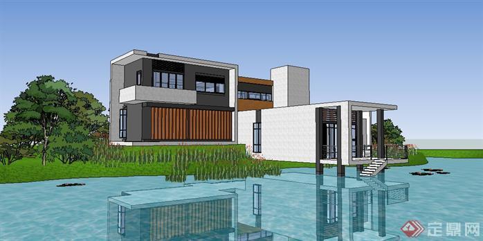 现代风格山地临湖别墅建筑设计su模型