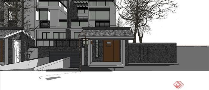 某新中式联排别墅建筑设计方案su模型