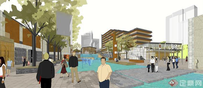 新中式商业广场规划设计超精细su模型[原创]