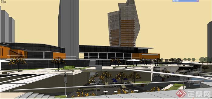商业下沉广场商业综合体设计su精致模型(7)