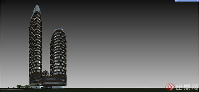 广东弧形商业建筑su精致模型设计[原创]