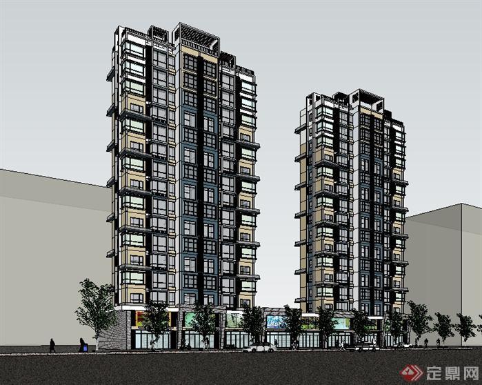 带底商的高层住宅建筑设计sketchup模型[原创]