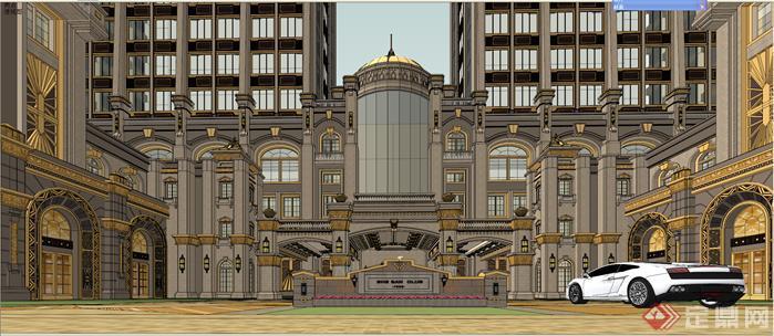 土豪金奢华古典欧式尼斯风格金象城商业建筑设计su