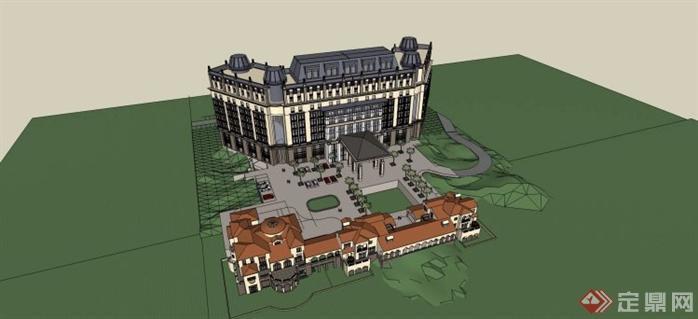 地中海风格酒店会所建筑设计su全套图纸(1)