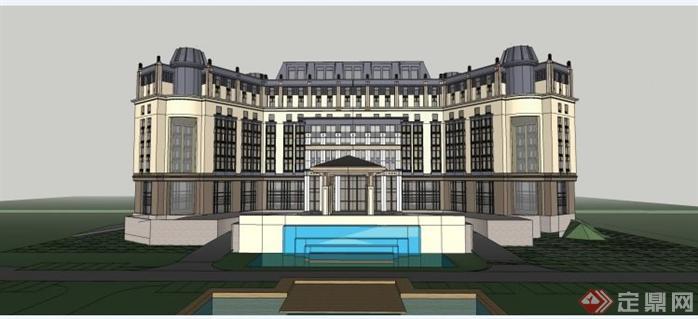 地中海风格酒店会所建筑设计su全套图纸(2)