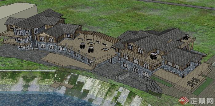 农家旅馆建筑方案su精致设计模型(3)