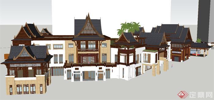 某东南亚风格度假酒店建筑方案su精致设计模型[原创]