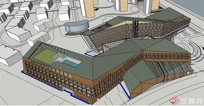 现代酒店建筑概念方案su精致设计模型