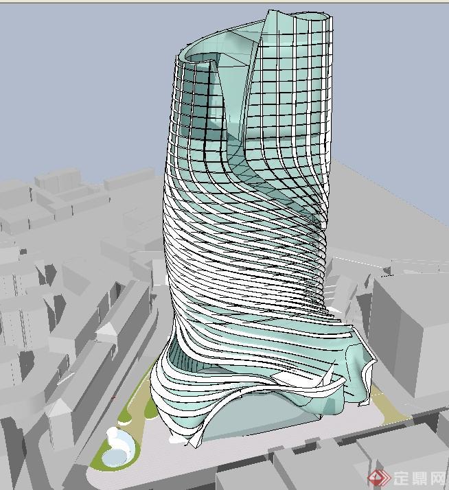 结构整体螺旋酒店建筑方案su精致设计模型[原创]