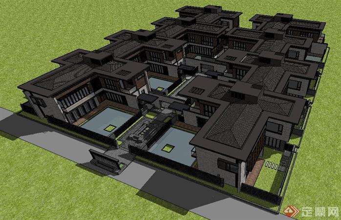 中式合院别墅su精致设计模型,该建筑方案设计布局合理,模型制作非常