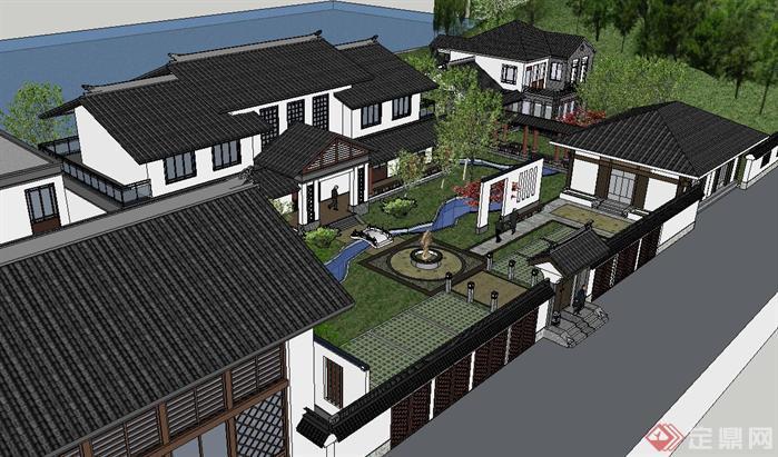 中式疗养院建筑方案su精致设计模型[原创]
