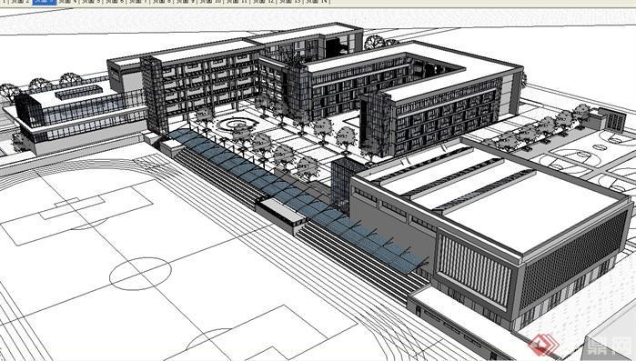 某贵族艺术学校建筑方案su精致设计模型(3)